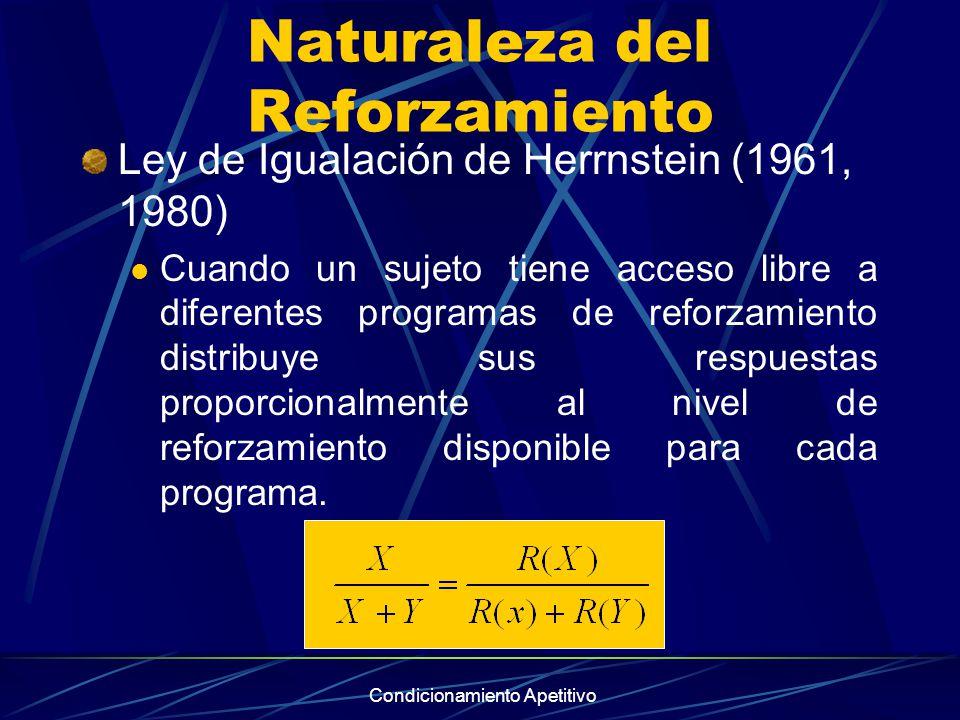 Condicionamiento Apetitivo Naturaleza del Reforzamiento Ley de Igualación de Herrnstein (1961, 1980) Cuando un sujeto tiene acceso libre a diferentes