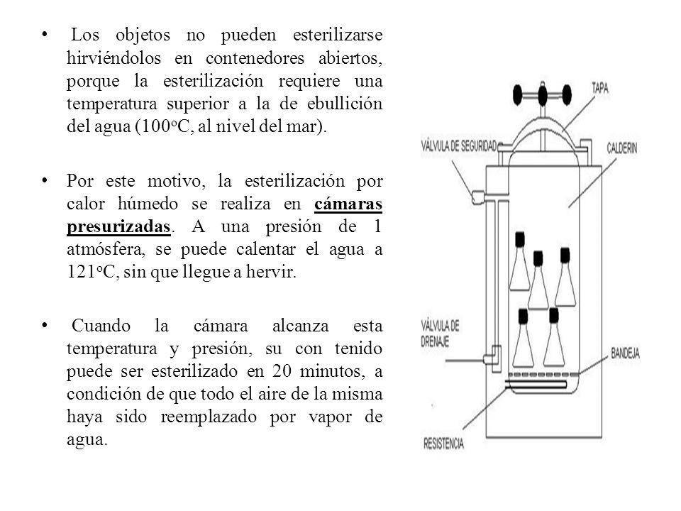 Los objetos no pueden esterilizarse hirviéndolos en contenedores abiertos, porque la esterilización requiere una temperatura superior a la de ebullici