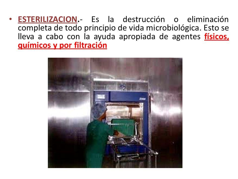 ESTERILIZACION.- Es la destrucción o eliminación completa de todo principio de vida microbiológica. Esto se lleva a cabo con la ayuda apropiada de age