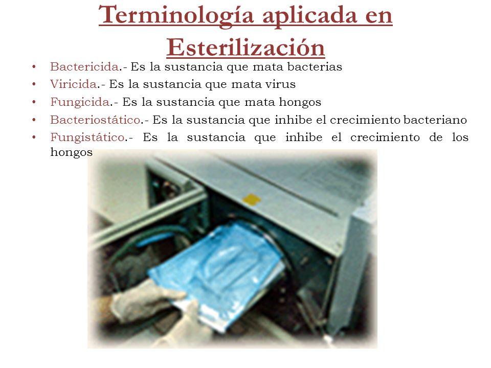 Terminología aplicada en Esterilización Bactericida.- Es la sustancia que mata bacterias Viricida.- Es la sustancia que mata virus Fungicida.- Es la s