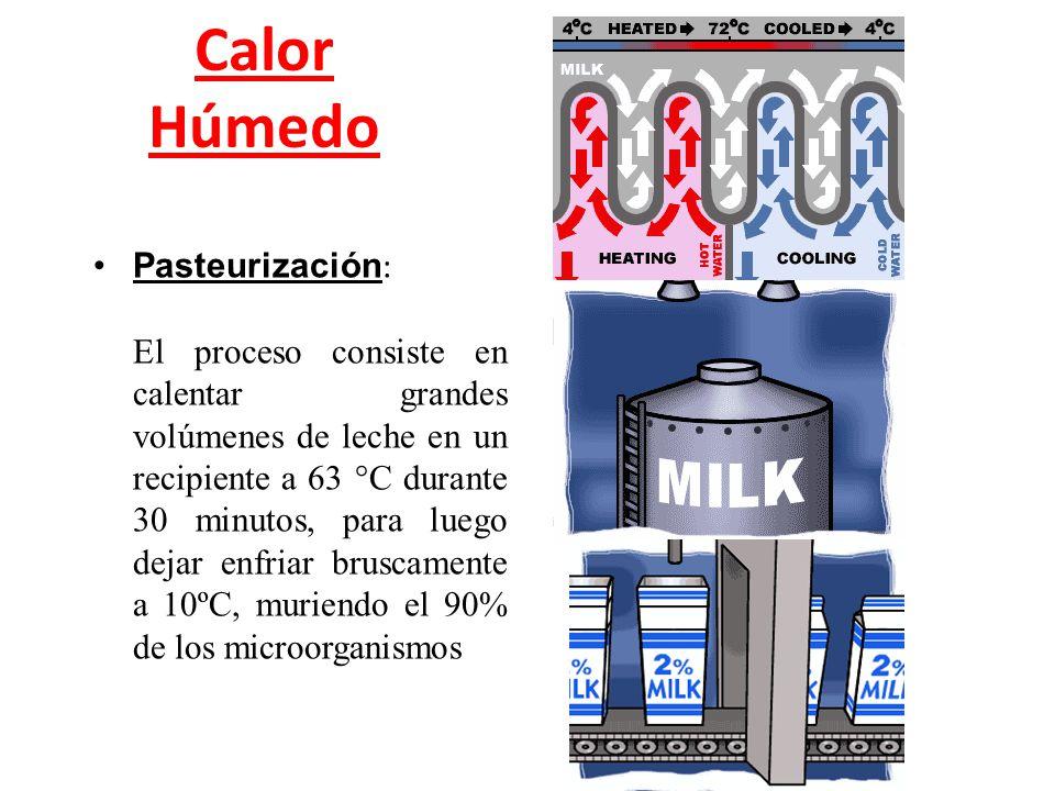 Calor Húmedo Pasteurización : El proceso consiste en calentar grandes volúmenes de leche en un recipiente a 63 °C durante 30 minutos, para luego dejar
