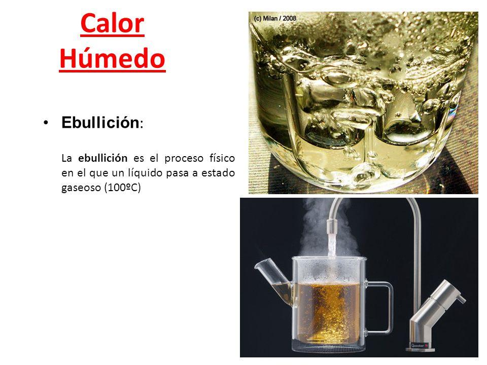 Calor Húmedo Ebullición : La ebullición es el proceso físico en el que un líquido pasa a estado gaseoso (100ºC)