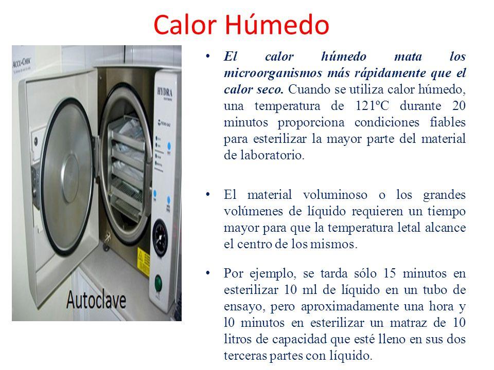 El calor húmedo mata los microorganismos más rápidamente que el calor seco. Cuando se utiliza calor húmedo, una temperatura de 121ºC durante 20 minuto