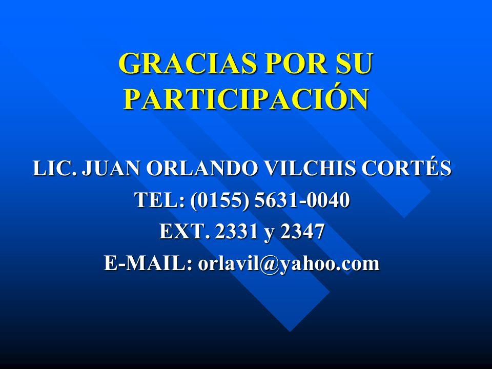 GRACIAS POR SU PARTICIPACIÓN LIC. JUAN ORLANDO VILCHIS CORTÉS TEL: (0155) 5631-0040 EXT. 2331 y 2347 E-MAIL: orlavil@yahoo.com