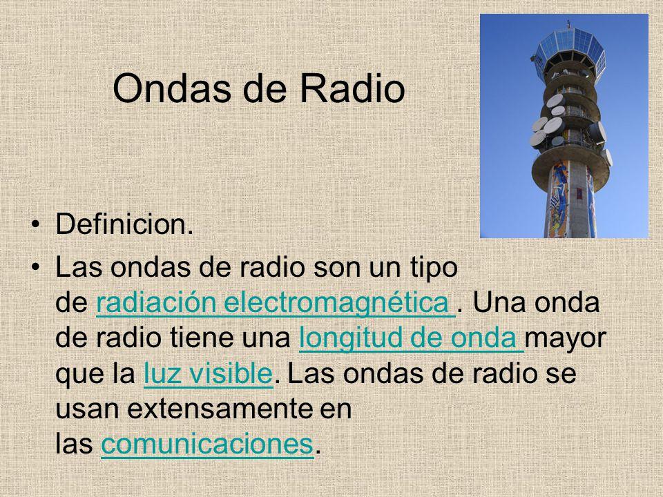 Ondas de Radio Definicion. Las ondas de radio son un tipo de radiación electromagnética. Una onda de radio tiene una longitud de onda mayor que la luz