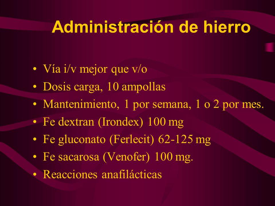 Administración de hierro Vía i/v mejor que v/o Dosis carga, 10 ampollas Mantenimiento, 1 por semana, 1 o 2 por mes. Fe dextran (Irondex) 100 mg Fe glu