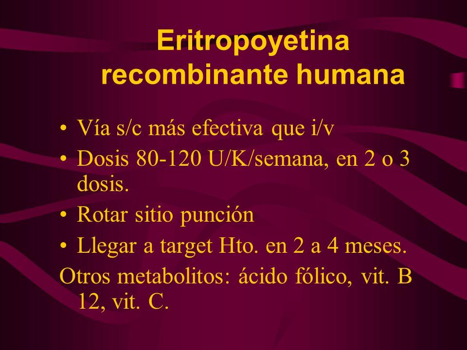 Eritropoyetina recombinante humana Vía s/c más efectiva que i/v Dosis 80-120 U/K/semana, en 2 o 3 dosis. Rotar sitio punción Llegar a target Hto. en 2