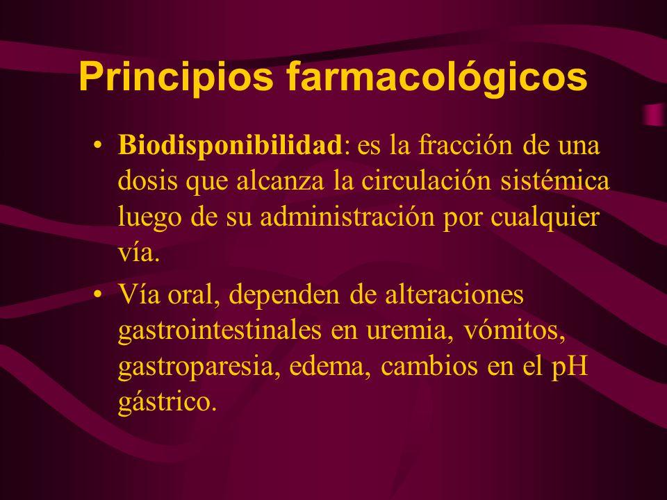 Principios farmacológicos Biodisponibilidad: es la fracción de una dosis que alcanza la circulación sistémica luego de su administración por cualquier
