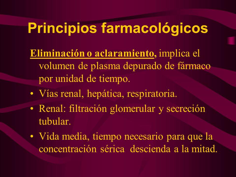 Eliminación o aclaramiento, implica el volumen de plasma depurado de fármaco por unidad de tiempo. Vías renal, hepática, respiratoria. Renal: filtraci