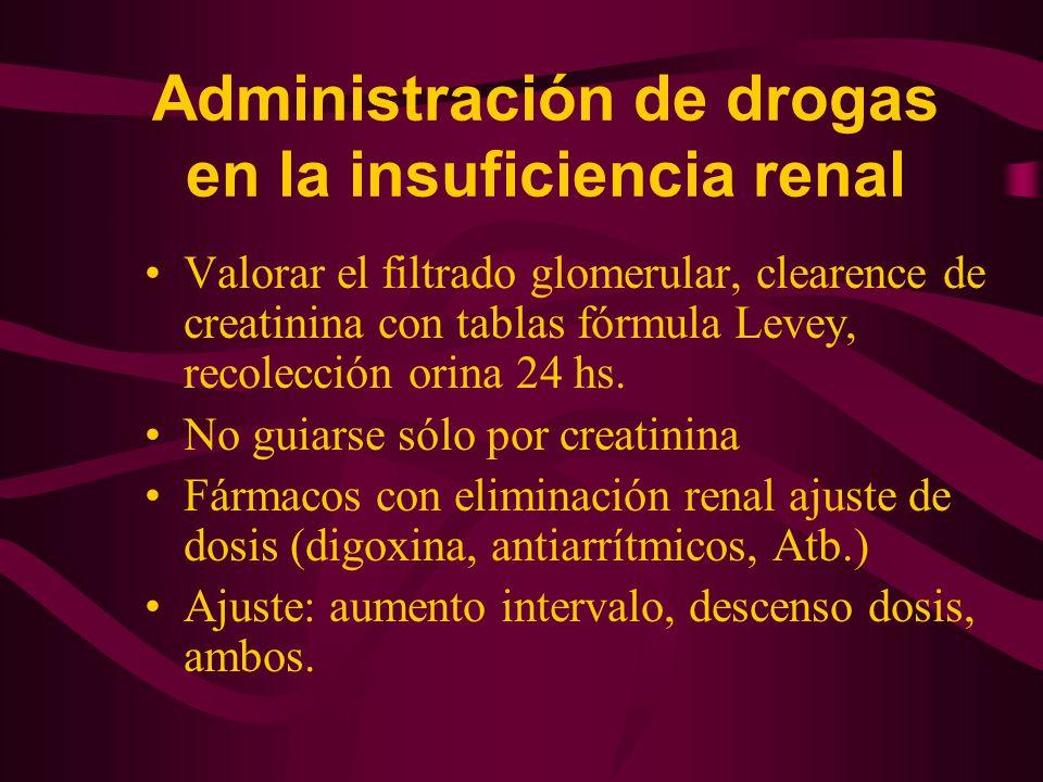 Administración de drogas en la insuficiencia renal Valorar el filtrado glomerular, clearence de creatinina con tablas fórmula Levey, recolección orina