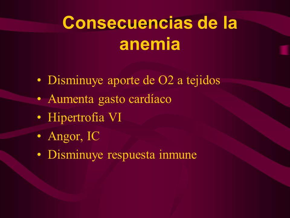 Consecuencias de la anemia Disminuye aporte de O2 a tejidos Aumenta gasto cardíaco Hipertrofia VI Angor, IC Disminuye respuesta inmune