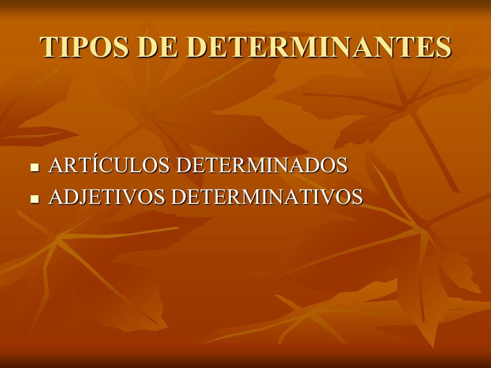 TIPOS DE DETERMINANTES ARTÍCULOS DETERMINADOS ARTÍCULOS DETERMINADOS ADJETIVOS DETERMINATIVOS ADJETIVOS DETERMINATIVOS