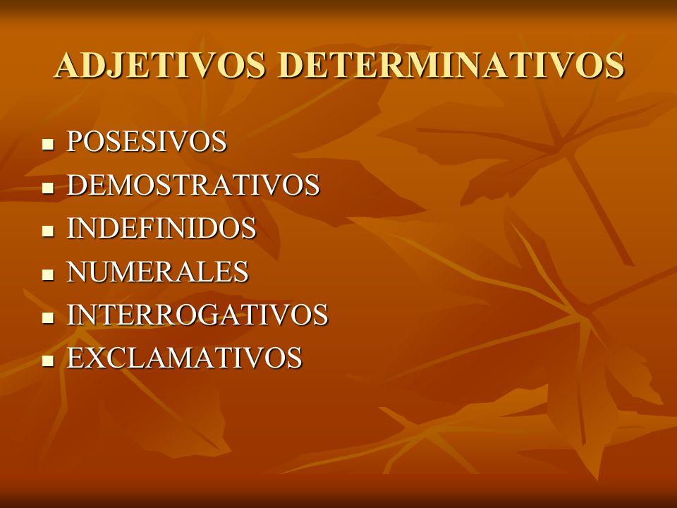 ADJETIVOS DETERMINATIVOS POSESIVOS POSESIVOS DEMOSTRATIVOS DEMOSTRATIVOS INDEFINIDOS INDEFINIDOS NUMERALES NUMERALES INTERROGATIVOS INTERROGATIVOS EXC