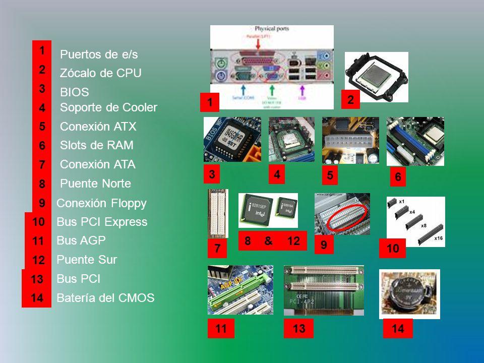 Slots de RAM Puertos de e/s Zócalo de CPU BIOS 1 2 3 4 5Conexión ATX 6 Soporte de Cooler 7 Conexión ATA 8 Puente Norte 9Conexión Floppy 10 Bus PCI Express 11 Bus AGP 12 Puente Sur 13 Bus PCI 14 Batería del CMOS 2 1 3 4 5 6 7 812& 910 1113 14