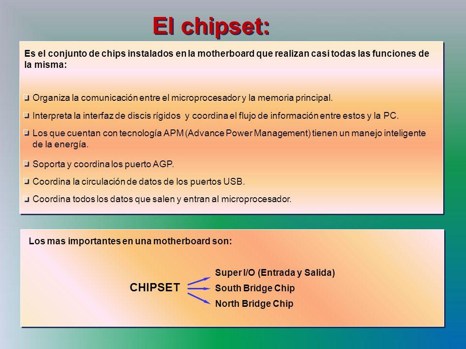 El chipset: Los que cuentan con tecnología APM (Advance Power Management) tienen un manejo inteligente de la energía.