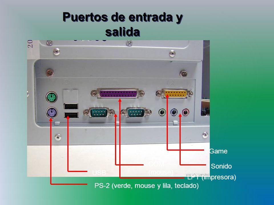 Puertos de entrada y salida PS-2 (verde, mouse y lila, teclado) USB COM (mouse) LPT (impresora) Game Sonido