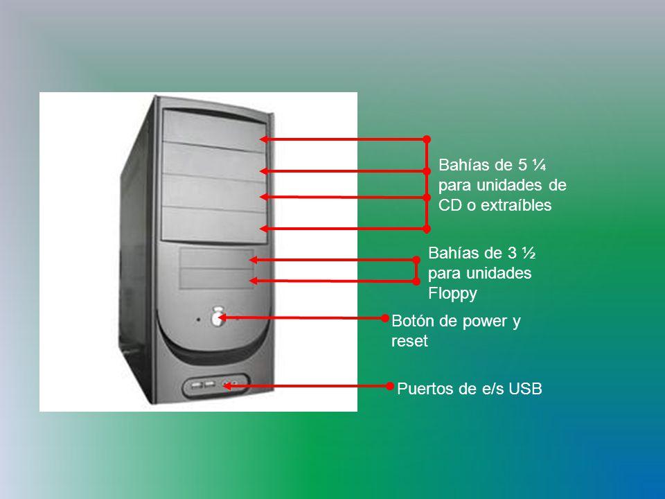 Bahías de 5 ¼ para unidades de CD o extraíbles Bahías de 3 ½ para unidades Floppy Botón de power y reset Puertos de e/s USB