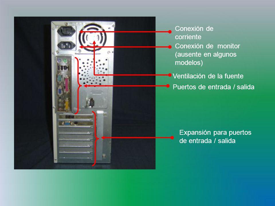 Conexión de corriente Conexión de monitor (ausente en algunos modelos) Ventilación de la fuente Puertos de entrada / salida Expansión para puertos de entrada / salida