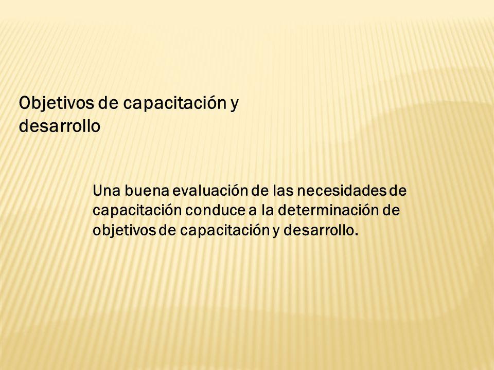 Objetivos de capacitación y desarrollo Una buena evaluación de las necesidades de capacitación conduce a la determinación de objetivos de capacitación y desarrollo.