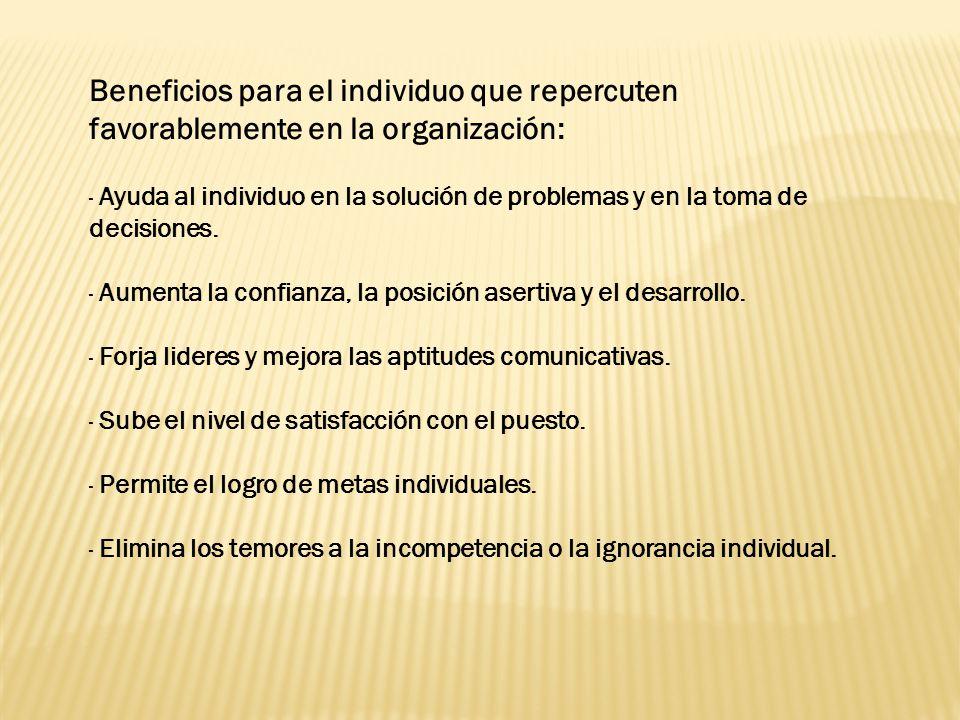 Beneficios para el individuo que repercuten favorablemente en la organización: · Ayuda al individuo en la solución de problemas y en la toma de decisiones.