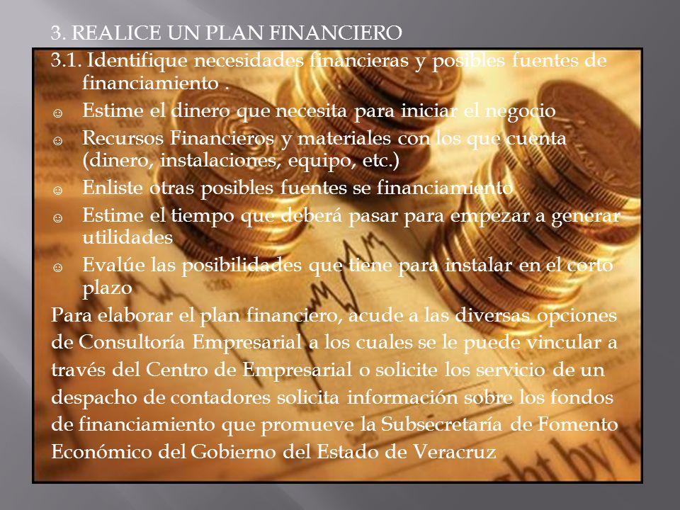3. REALICE UN PLAN FINANCIERO 3.1. Identifique necesidades financieras y posibles fuentes de financiamiento. Estime el dinero que necesita para inicia