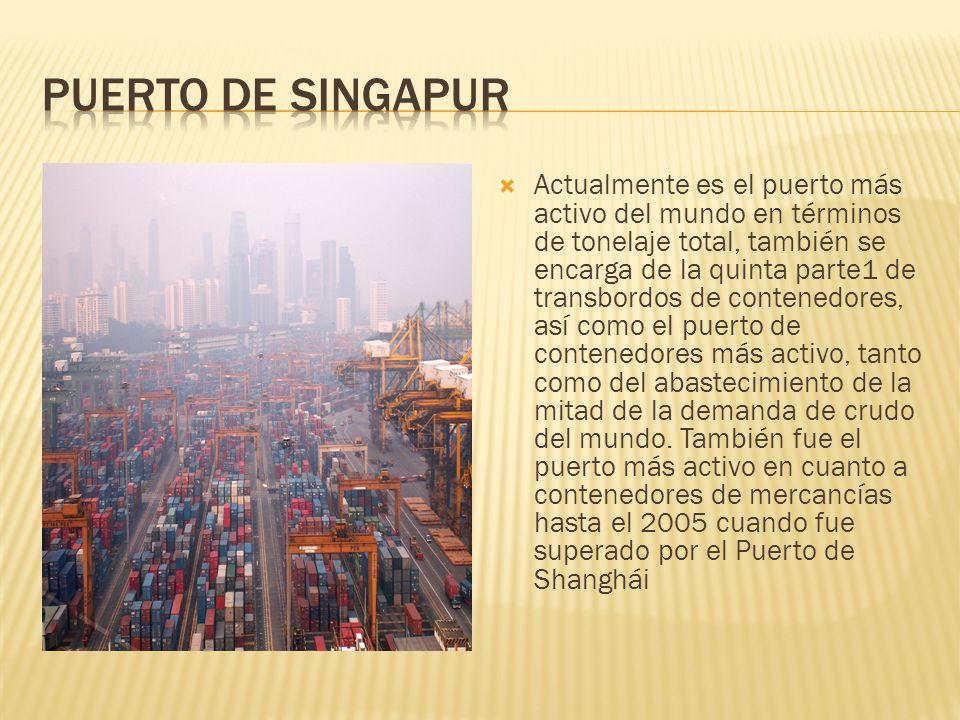 Actualmente es el puerto más activo del mundo en términos de tonelaje total, también se encarga de la quinta parte1 de transbordos de contenedores, as