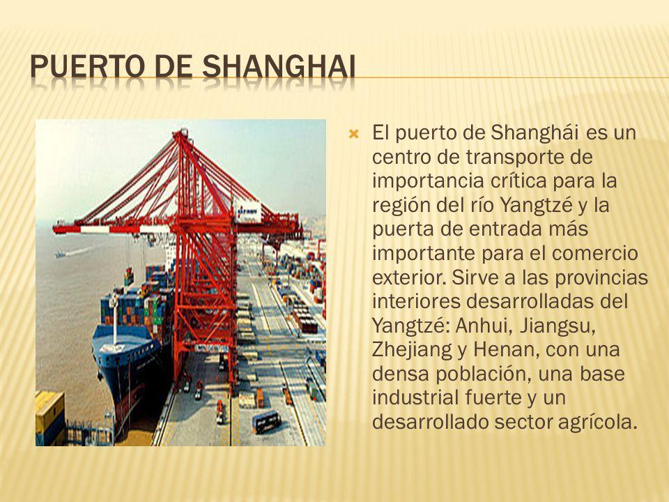El puerto de Shanghái es un centro de transporte de importancia crítica para la región del río Yangtzé y la puerta de entrada más importante para el comercio exterior.