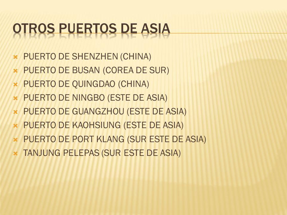 PUERTO DE SHENZHEN (CHINA) PUERTO DE BUSAN (COREA DE SUR) PUERTO DE QUINGDAO (CHINA) PUERTO DE NINGBO (ESTE DE ASIA) PUERTO DE GUANGZHOU (ESTE DE ASIA