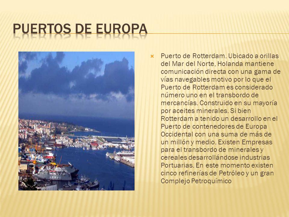 Puerto de Rotterdam. Ubicado a orillas del Mar del Norte, Holanda mantiene comunicación directa con una gama de vías navegables motivo por lo que el P