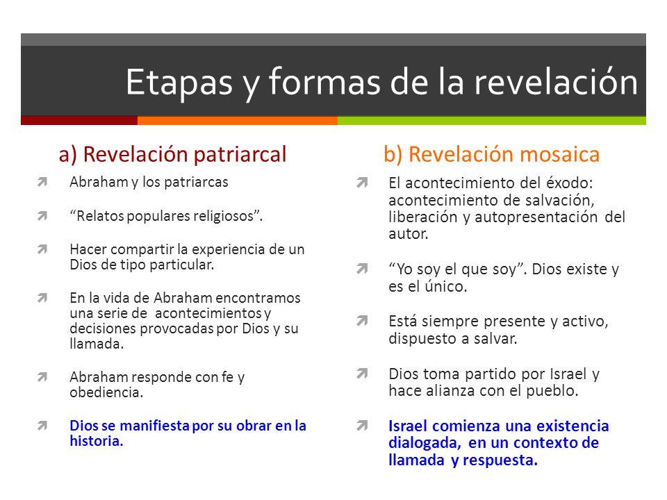 Etapas y formas de la revelación a) Revelación patriarcal Abraham y los patriarcas Relatos populares religiosos. Hacer compartir la experiencia de un