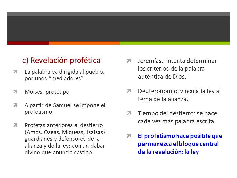 c) Revelación profética La palabra va dirigida al pueblo, por unos mediadores.