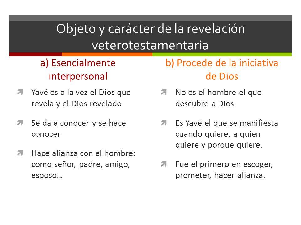 Objeto y carácter de la revelación veterotestamentaria a) Esencialmente interpersonal Yavé es a la vez el Dios que revela y el Dios revelado Se da a c