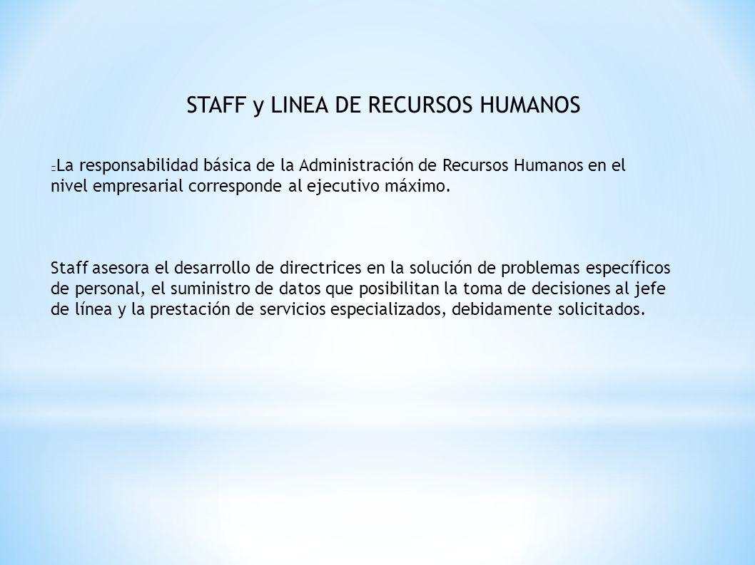 STAFF y LINEA DE RECURSOS HUMANOS La responsabilidad básica de la Administración de Recursos Humanos en el nivel empresarial corresponde al ejecutivo