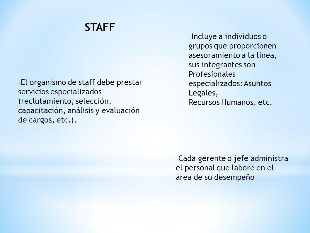 STAFF El organismo de staff debe prestar servicios especializados (reclutamiento, selección, capacitación, análisis y evaluación de cargos, etc.). Cad