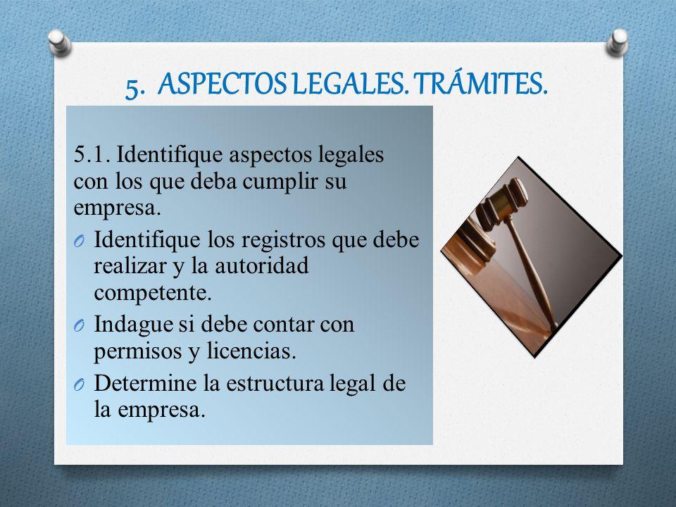 5. ASPECTOS LEGALES. TRÁMITES. 5.1. Identifique aspectos legales con los que deba cumplir su empresa. O Identifique los registros que debe realizar y