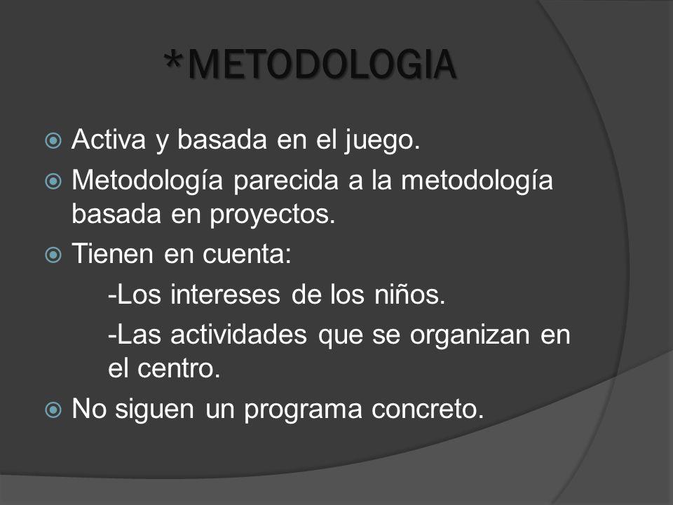 *METODOLOGIA Activa y basada en el juego. Metodología parecida a la metodología basada en proyectos. Tienen en cuenta: -Los intereses de los niños. -L
