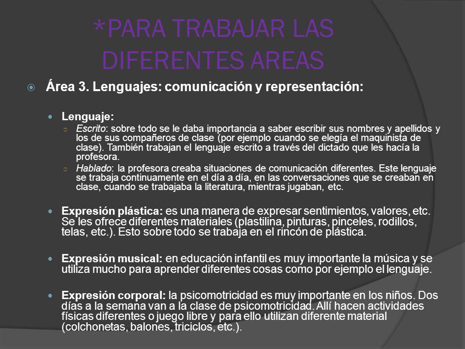 *PARA TRABAJAR LAS DIFERENTES AREAS Área 3. Lenguajes: comunicación y representación: Lenguaje: Escrito: sobre todo se le daba importancia a saber esc