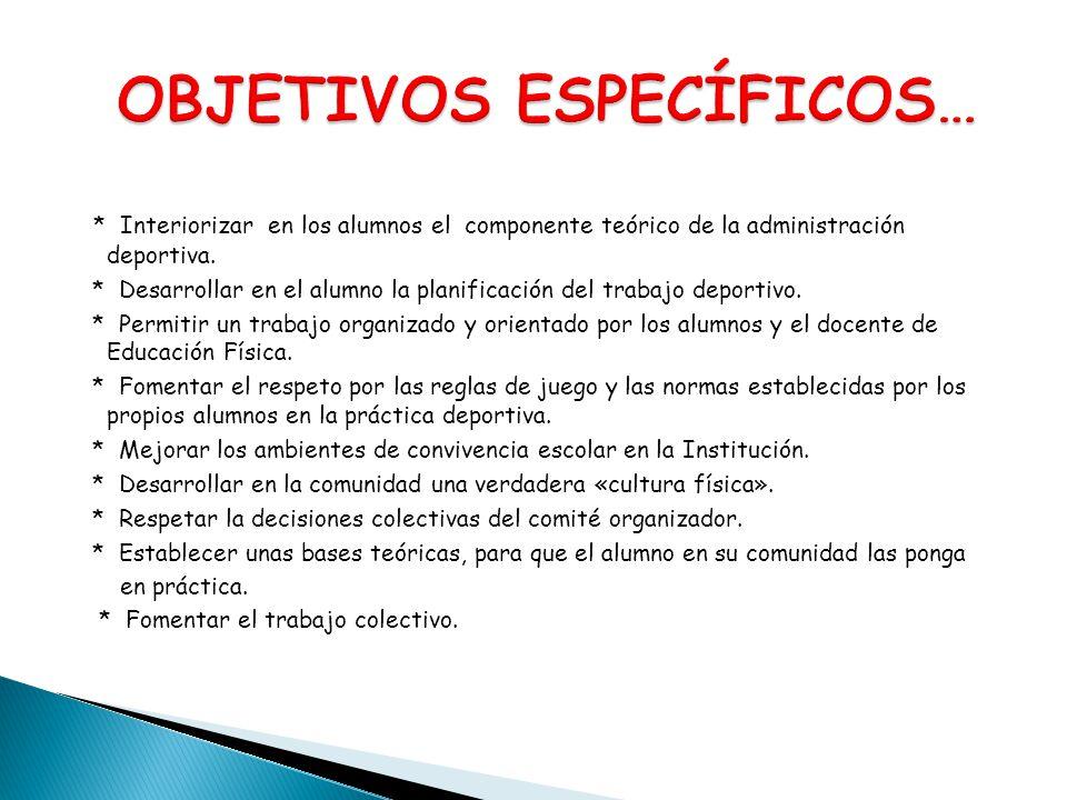 * Interiorizar en los alumnos el componente teórico de la administración deportiva. * Desarrollar en el alumno la planificación del trabajo deportivo.