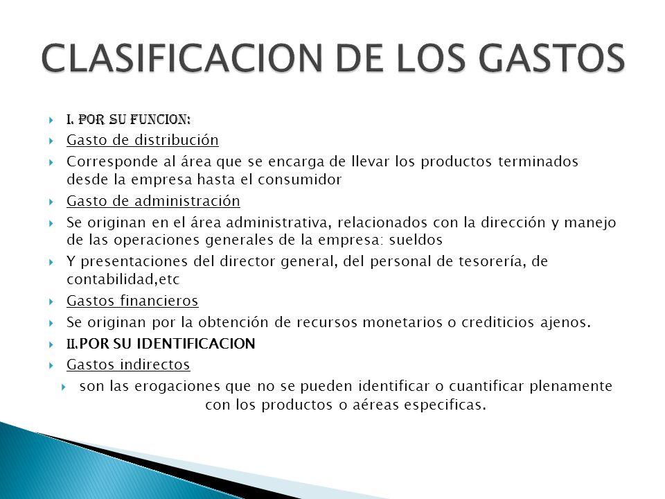 i. POR SU FUNCION: Gasto de distribución Corresponde al área que se encarga de llevar los productos terminados desde la empresa hasta el consumidor Ga
