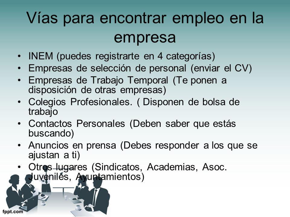 Vías para encontrar empleo en la empresa INEM (puedes registrarte en 4 categorías) Empresas de selección de personal (enviar el CV) Empresas de Trabajo Temporal (Te ponen a disposición de otras empresas) Colegios Profesionales.