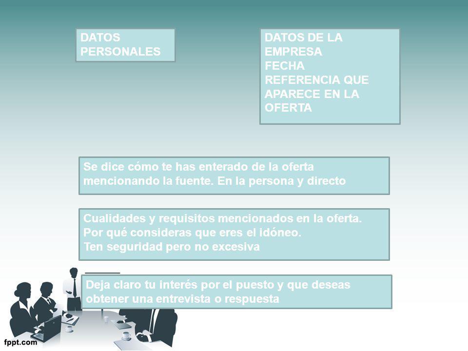 DATOS PERSONALES DATOS DE LA EMPRESA FECHA REFERENCIA QUE APARECE EN LA OFERTA Se dice cómo te has enterado de la oferta mencionando la fuente.