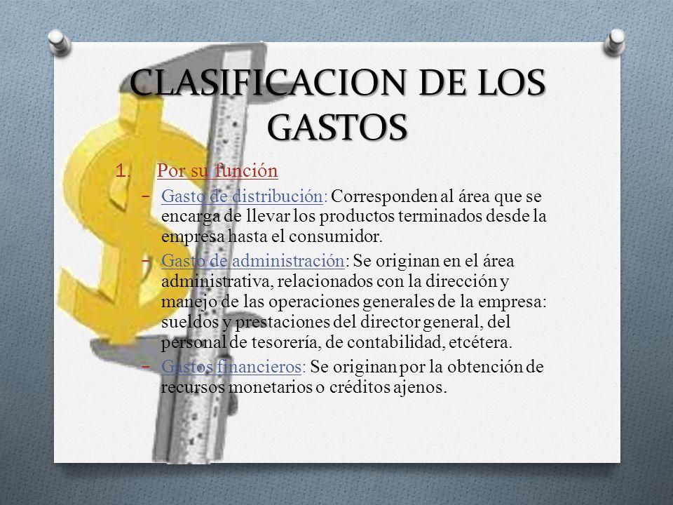 CLASIFICACION DE LOS GASTOS 1. Por su función Gasto de distribución: Corresponden al área que se encarga de llevar los productos terminados desde la e