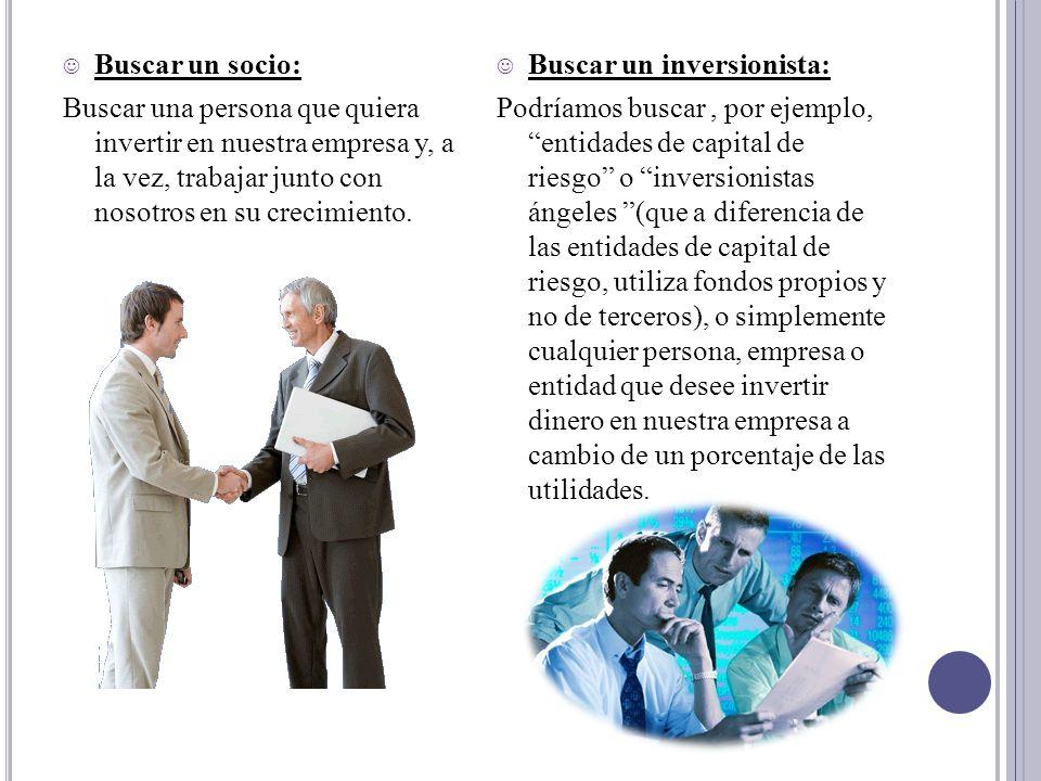 Buscar un socio: Buscar una persona que quiera invertir en nuestra empresa y, a la vez, trabajar junto con nosotros en su crecimiento. Buscar un inver