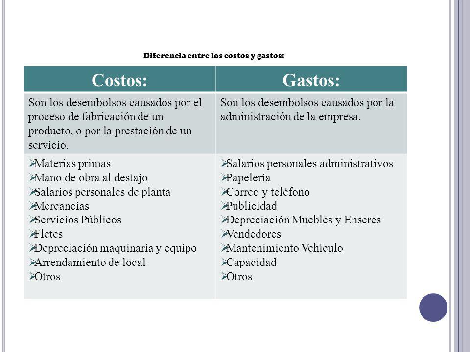 Diferencia entre los costos y gastos: Costos:Gastos: Son los desembolsos causados por el proceso de fabricación de un producto, o por la prestación de