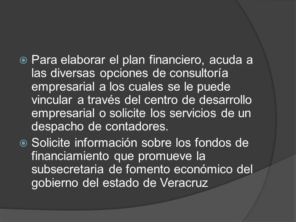 Para elaborar el plan financiero, acuda a las diversas opciones de consultoría empresarial a los cuales se le puede vincular a través del centro de de