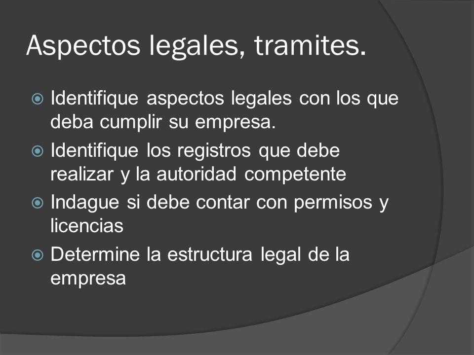 Aspectos legales, tramites. Identifique aspectos legales con los que deba cumplir su empresa. Identifique los registros que debe realizar y la autorid