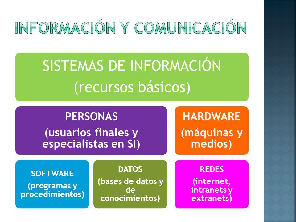 SISTEMAS DE INFORMACIÓN (recursos básicos) PERSONAS (usuarios finales y especialistas en SI) SOFTWARE (programas y procedimientos) DATOS (bases de datos y de conocimientos) HARDWARE (máquinas y medios) REDES (internet, intranets y extranets)