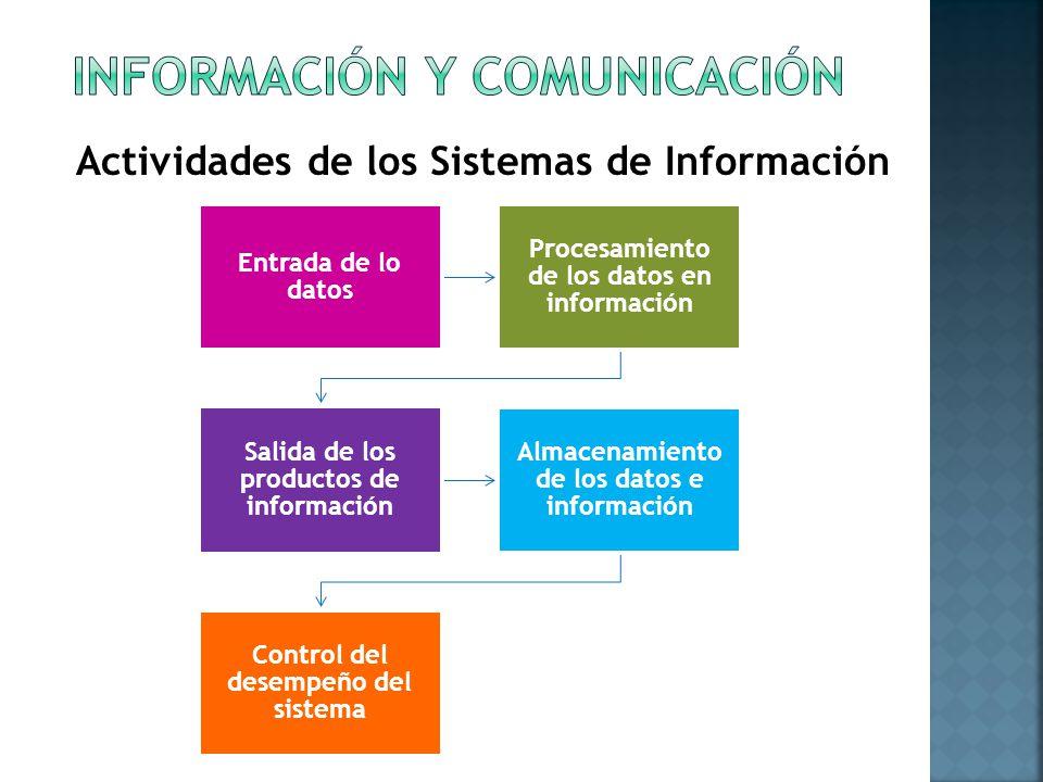 Entrada de lo datos Procesamiento de los datos en información Salida de los productos de información Almacenamiento de los datos e información Control del desempeño del sistema Actividades de los Sistemas de Información
