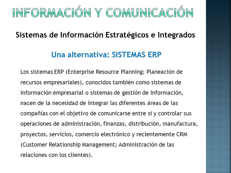 Sistemas de Información Estratégicos e Integrados Los sistemas ERP (Enterprise Resource Planning; Planeación de recursos empresariales), conocidos tam
