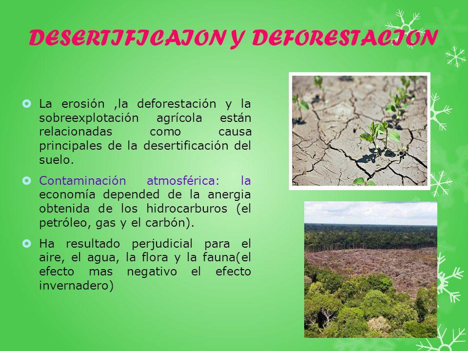 DESERTIFICAION Y DEFORESTACION La erosión,la deforestación y la sobreexplotación agrícola están relacionadas como causa principales de la desertificación del suelo.